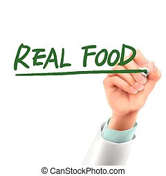 doctor writing real food words