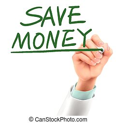 doctor writing save money words