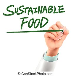 doctor writing sustainable food words