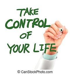 doctor writing take control of your life words