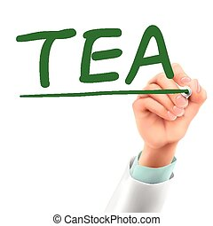 doctor writing tea word