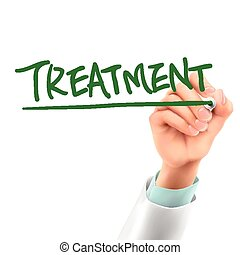 doctor writing treatment word