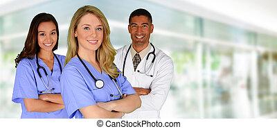 doctor, y, enfermeras