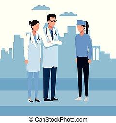doctor, y, gente