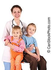 doctor, y, niños, 2