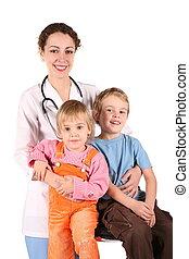 doctor, y, niños