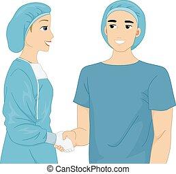 doctor y paciente, sacudida de la mano