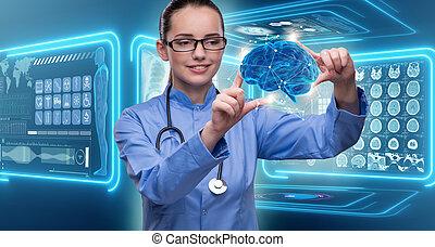 doctora, con, el, cerebro, en, concepto médico