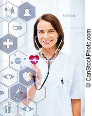 doctora, con, estetoscopio, y, virtual, pantalla