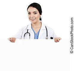 doctora, tenencia, muestra en blanco