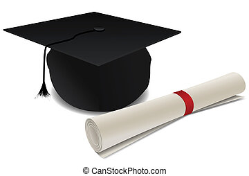 doctorate hat with degree - illustration of doctorate hat...