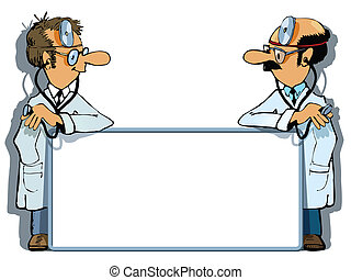 Doctors advertising - Two doctors are standing with an...