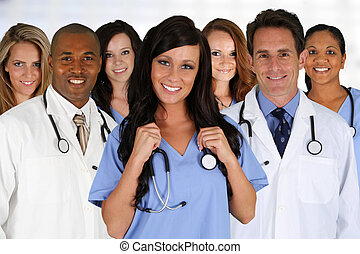 Doctors and Nurse - Group of doctors and nurses set in a ...