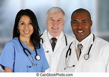 Doctors and Nurse - Group of doctors and nurses set in a...