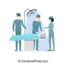 Doctors and Nurse in Operation Vector Illustration