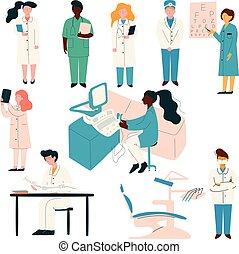 Doctors and Nurses Medical Staff Set, Hospital Workers in Uniform, Dentist, Ophthalmologist, Therapist, Nurse Vector Illustration
