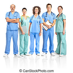 Smiling medical people with stethoscopes. Doctors and nurses over white background