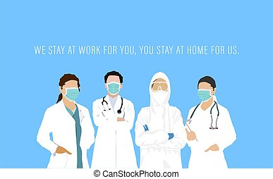 International Nurses Day poster showing a team of healthcare workers in the time of Coronavirus Pandemic. Doctor's day National. Vector Illustration