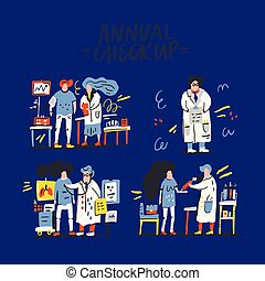 Doctors And Patients - Annual medical checkup illustration....