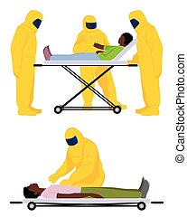 Doctors are struggling with Ebola - Vector illustration of a...