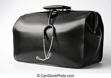 doctor\'s bag - big black doctor\'s bag with stethoscope...
