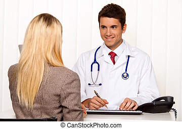 Doctors call. Patient and doctor in discussion in medical...