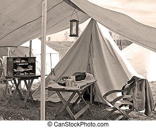 A doctor's camp at a Civil War encampment.