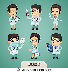 Doctors Cartoon Characters Set1.1 In the EPS file, each element is grouped separately. Clipping paths included in additional jpg format.