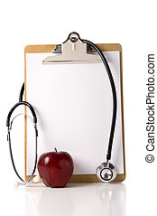 Doctor\'s Clipboard with an Apple and a Stethoscope