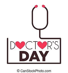 Doctors day medical worker professional holiday isolated greeting icon vector stethoscope and hearts medicine and healthcare therapist or physician or surgeon appreciation and congratulation