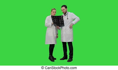 Doctors examine xray and discuss successful result of operation on a Green Screen, Chroma Key.