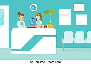 Doctors Examining X-ray of Human Bones, Medicine, Healthcare Concept, Medical Clinic Interior Cartoon Vector Illustration