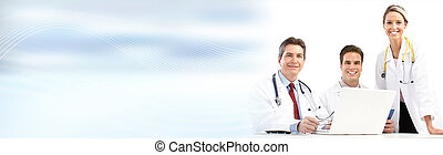 Doctors group - Group of medical doctors over abstract...
