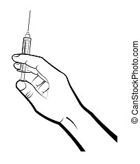 doctors hand holds a syringe with medicine for vaccination. Prevention of the spread of the disease. Flu Prevention Isolated vector on white background