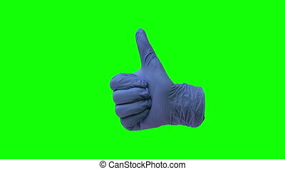 Doctors hand in blue glove is holding thumb up making gestures like. Green screen. Gestures chroma key pack. Footage for ads. Close up motion.