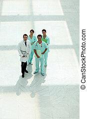 Doctors in hospital corridor