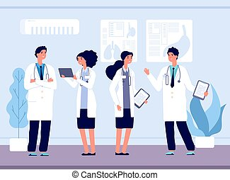 Doctors in hospital. Medical team working, nursing and healthcare. Clinic staff talking and smiling vector illustration