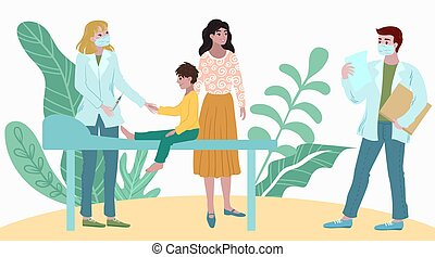 Doctors medical checkup patient child in hospital, mother and child visit at doctors appointment cartoon vector illustration.