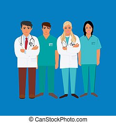 Doctors, medical personnel, vector illustration