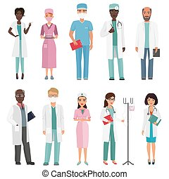 Doctors, nurses and medical staff. Medical team concept in cartoon flat design people character.