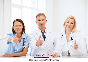 Doctors on a meeting - healthcare and medical concept -...