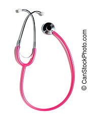 Pink heart on a stethoscope and a white background. Doctor Stethoscope On The View