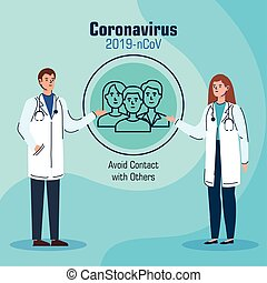 doctors recommending avoid contact with others for avoiding covid 19 vector illustration design