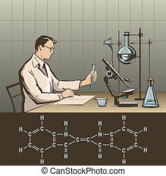Doctor writing report about scientific research in laboratory vector illustration