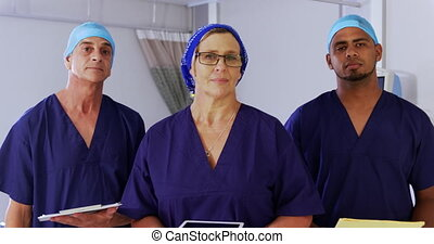 Doctors standing in the ward at hospital 4k