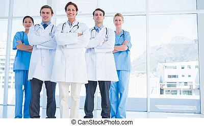 Doctors standing together at hospital