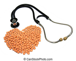 Doctors Stethoscope With Medical Drugs In Pill Form