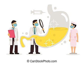 doctors, stomach., humano, equipo, diagnosticar