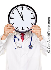 Doctors stress in front of the head with Clock. Working in...