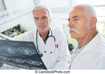 doctors studying a radiology result